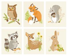 Woodland Animal Stickers | Woodland Animal Friends Art Print Set