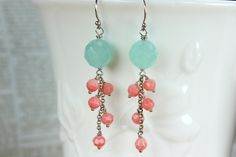 Aqua Blue Chalcedony Dangle Earring Coral Cluster by TheGoosle