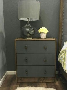 Pin doesn't like to anything but I love the photo as an example. Ikea Rast dresser hack. Two-toned, grey and medium stain. Ikea Rast Dresser, Ikea Hack Rast, Dresser As Nightstand, Two Tone Dresser, Dresser Handles, Furniture Online, Ikea Furniture, Furniture Projects, Bedroom Furniture