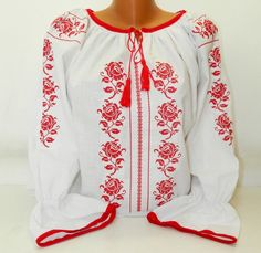 Romanian Peasant Ethnic Top Tunic Embroidered Blouse all custom sizes linen or cotton Bohemian Tops, Boho, Romanian Women, Folk Fashion, Womens Fashion, Ukrainian Dress, Pakistani Fashion Casual, Kids Winter Fashion, Crochet Tunic