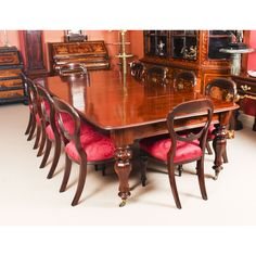 This is a fantastic dining set comprising an antique William IV dining table with ten antique balloon back dining chairs, all Circa 1830 in date. The superb set of ten Victorian mahogany balloon back dining chairs are also Circa 1830 in date. Buy Dining Table, Mahogany Dining Table, Drum Table, Extendable Dining Table, Dining Set, Dining Chairs, Sofa Tables, Table And Chair Sets, Mahogany Furniture