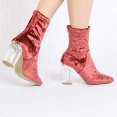Chloe Perspex Heeled Ankle Boots in Grey Velvet