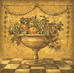 Still life painting with fruits - Old World fine art for home decor - Pompeii style fresco