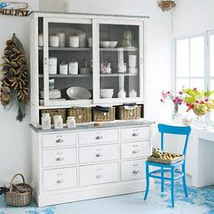 A magnificent wooden armoire China Cabinets And Hutches, Living Place, Maine House, Restaurant Design, Home Collections, Kitchen Storage, Furniture Decor, Sweet Home, House Design