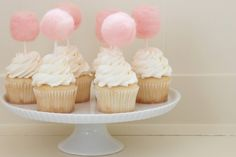 Those are little cotton candy cupcake toppers. Cupcakes Rosa, Pink Cupcakes, Yummy Cupcakes, Cupcake Cookies, Cupcake Toppers, Decorate Cupcakes, Party Cupcakes, Sweet Cupcakes, Vanilla Cupcakes