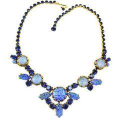 Schiaparelli Blue Crackle Glass Necklace