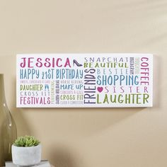 21st Birthday Gift for Her of Personalised Panoramic Word Art Canvas Print. Beautiful Personalised Word Art Gifts to Commemorate a Landmark Birthday. Easy to Create, Preview on Screen Before You Buy & Fast Free Delivery. Create Now…