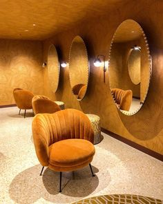 CHLOE.ROXANE - Instagram: The prettiest powder room I have ever seen. The Casino in Bern has undergone some renovation and its powder room is now a dream in mustard. Bern, Egg Chair, Powder Room, Mustard, Chloe, Life, Furniture, Instagram, Home Decor