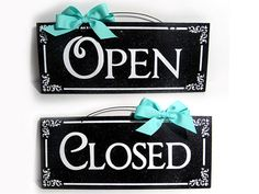 Double sided Open and Close sign Custom by DiamondDustDesigns, $15.00