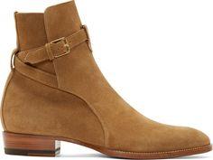 Saint Laurent: Brown Suede Heidi Boots