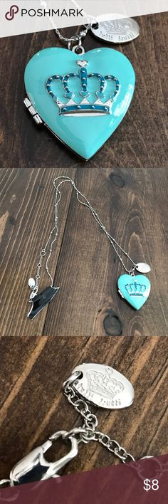 New Tutti Fruiti turquoise heart locket necklace New! Long silver-chain necklace. Working locket. tutti fruiti Jewelry Necklaces