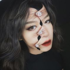 Creepy Makeup, Horror Makeup, Face Illusions, Optical Illusions, Optical Illusion Tattoo, Maquillage Halloween Simple, Cute Halloween Makeup, Old Makeup, Creative Makeup Looks