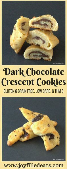 Dark Chocolate Crescent Cookies - GLUTEN & GRAIN FREE, LOW CARB, & THM S