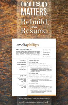 Resume Design : Resume Template / CV Template Cover Letter for MS Word Modern Resume Template, Creative Resume Templates, Cv Template, Resume Help, Resume Tips, Cv Tips, Social Media Marketing Jobs, Resume Skills Section, Job Interview Tips