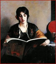 Leslie Prince Thompson Portrait of a Woman Reading a Book 1916 by Plum leaves, via Flickr