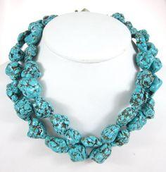 DESIGNER Sterling Silver Turquoise Beaded Multi Strand Chain Link Necklace $69.00 at www.ShopLindasStuff.com