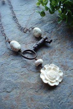 Vintage Skeleton Key Necklace Statement Necklace by ajbcreations, $49.00