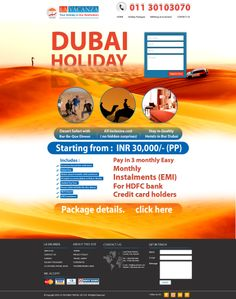 Dubai holiday package landing page design.  Contact www.softtrix.com