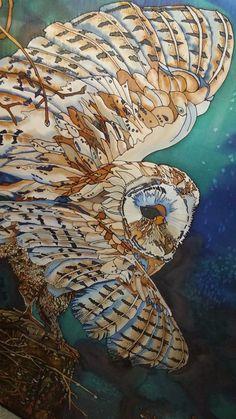 Barn Owl, Silk Painting, 36 X 48, Tracy Harris Artist, San Diego,