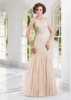 2015 V-neck V-back Sleeveless Buttons Appliques Floor Length Chiffon Mermaid Mother of the Bride Dresses Morri Lee MBD70905