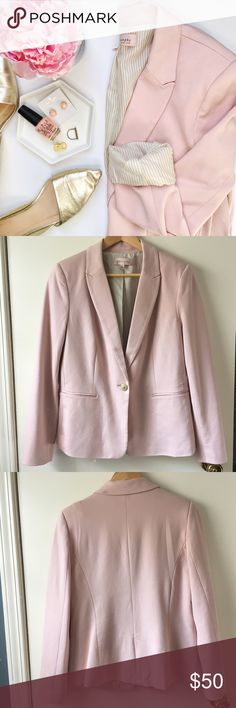 Philosophy Blush Blazer Wow!😍 This super soft blazer is the most beautiful blush color and has a lovely pinstripe lining. Blush isn't going anywhere, ladies, so snatch this up!🎀 In excellent condition except for one small dirt mark on the back of the collar.   Earrings and ring also available in my closet!☝🏻️  🚫 Trades/🅿️🅿️ ✨ 100% Authentic 💵 Offers Welcome 💰 Bundle Discount 📬 Ships in 1-2 Days Philosophy Jackets & Coats Blazers