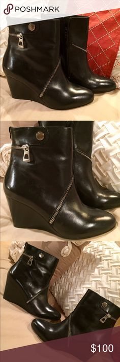 Never Worn Black Wedge Zippered Rudsak Boots I bought these beauties in Montreal, and LOVE the look, but they run a little small...more like an 8 or 8 1/2. RUDSAK Shoes Ankle Boots & Booties
