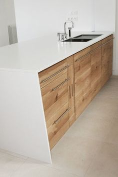 cuisine design contemporain faades bois brut chne tri pli lot rangement plan