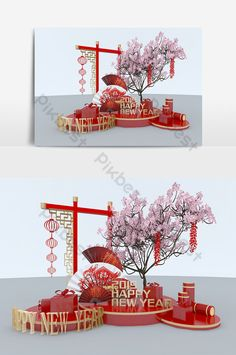 2019 New Year Fan Beauty Model & Models Models Chinese New Year Decorations, New Years Decorations, Stage Decorations, Christmas Party Poster, Christmas Stage, Asian New Year, Happy Chinese New Year, Japanese Ornaments, Christmas Background Images
