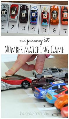 Toddler Car Parking Lot ~ Number matching Game We have been working on number recognition recently. What better way to learn, than a hands on activity! I have a little one who love cars. He loves lining them up, sorting them by color and simple zooming them all around the house. There are a