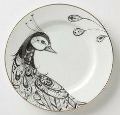 the delightful find: anthropologie peacock dinnerware