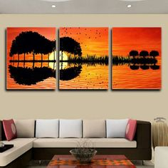 """Stunning Guitar Sunset Digital Print 3-Piece Art Canvases To Hang On Your Favorite Walls! Normally $157.99 for this Complete Set of (3), Custom Printed 16"""" x 20"""" Wall Art Canvases. But for this Limited Time Only, It's 45% OFF Today for Only $74.95 Stunning Set of (3) 16"""" x 20"""" inch Wall 3D Canvases.Premium Heavyweight Canvas Laminated onto MDF Boards. Makes it the perfect wall art for any room! Limited in stock - Order Yours Today.*Ships via USPS with Tracking usually within 6-10 days."""