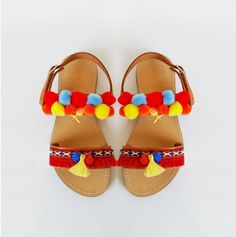 Kids sandals boho kids sandals pom pom sandals greek by MyMarmade