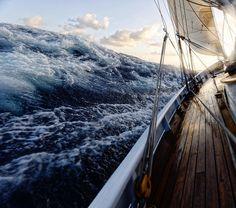 "kurtarrigo: "" It may look a little extreme but it really is plain sailing. #makingmemories #lifeatsea l#classic #oceanpower #sail #waves """