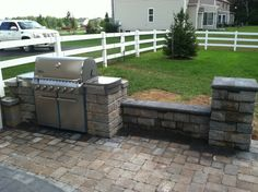 Ep Henry Paver Patio With Built In Grill. Coventry Sitting Wall And Stone  Column By