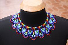 Items similar to Saraguro Hand Beaded Necklace on Etsy Seed Bead Necklace, Seed Bead Jewelry, Jewelry Art, Beaded Jewelry, Fashion Jewelry, Beaded Collar, Beaded Choker, Collar Necklace, Handmade Necklaces