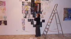 "I'm working now everyday at the gallery for the installation of my next exhibition ""One face, thousand faces"",  see more at http://blog.artlyst.com/going-with-the-creative-process/working-big-in-progress/"