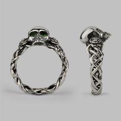 Bespoke Skull & Rose Wedding Ring Silver & Green Tsavorite Eyes.