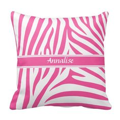Fashionable Customizable Pink White Zebra Pattern Throw Pillows