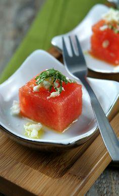 Watermelon Bites with Basil Oil, Feta & Mint