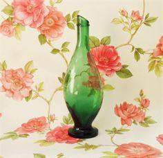 Vintage Italian Green Glass Bottle Pourer Neck Verdicchio Aurora Cupramontana