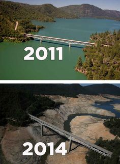 (Top) The Enterprise Bridge stretches over full water levels at a section of Lake Oroville in July 2011 in Oroville, Calif. (Bottom) The same view in a photo taken this summer, after three years of drought. Save Planet Earth, Save Our Earth, Save The Planet, Salve A Terra, Lake Oroville, California Drought, Dame Nature, Environmental Issues, Save Water