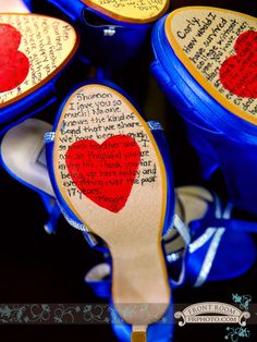 Gorgeous! Maggie put personal notes on the bottom of her bridesmaid's shoes! Photo by: FRP