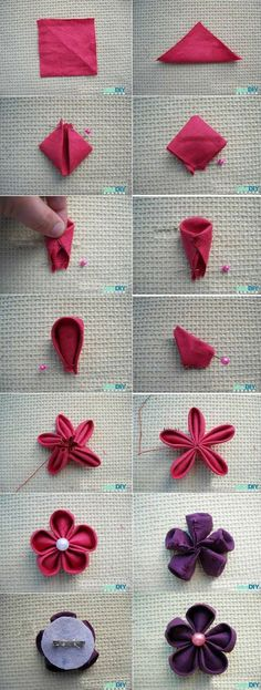 DIY Tutorial Fabric Flowers / Fabric Flower Brooch - Bead&Cord Fabric Flower tutorial using squares- super easy.hand/machine stitch or use a glue gun Felt Crafts, Fabric Crafts, Sewing Crafts, Sewing Projects, Fabric Glue, Sewing Diy, Fabric Scissors, Satin Fabric, Felt Flowers