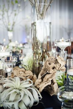 Tall centerpiece option?  Birch wood Centerpiece-Drift Wood and Candles with Flowers Using different elements tied together