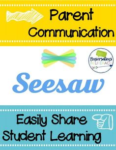 Have you heard about SeeSaw, the amazing educational app taking classrooms by storm? Conversations in Literacy shows you how to get started with the Seesaw app and use it to enhance student learning and parent communication. Notes To Parents, Parents As Teachers, Parent Notes, Seesaw App, Common Core Curriculum, Parent Communication, Communication Activities, Teacher Conferences, Educational Technology