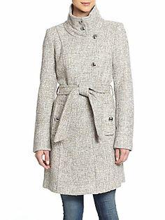 Izzy Asymmetrical-Front Tweed Coat