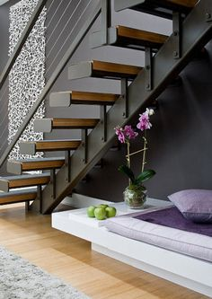 Looking for Staircase Design Inspiration? Check out our photo gallery of Modern Stair Railing Ideas. Modern Stair Railing, Staircase Railings, Railing Design, Modern Staircase, Staircase Design, Stairways, Railing Ideas, Staircase Ideas, Metal Stairs
