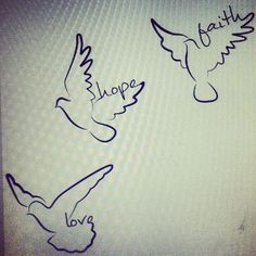 Faith Hope and Love... these three birds in black will look really cool on the wrist or back of the neck.