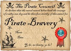 Pirate Certificate of Bravery (Ready to personalise)