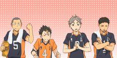Look! Look how proud mom and dad are! Tanaka Haikyuu, Haikyuu Anime, Hinata Shouyou, Nishinoya, Haikyuu Characters, Anime Characters, Fictional Characters, Baby Crows, Karasuno
